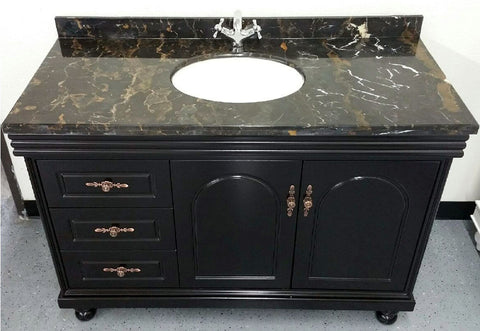 "48"" Marble Top Bathroom Single Vanity Cabinet w/ Sink + Faucet Included"