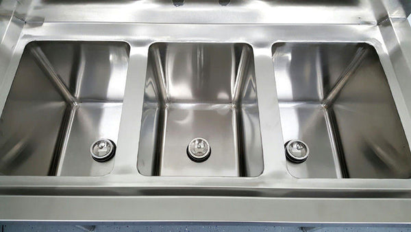 3 Compartment Commercial Stainless Steel Triple Sink Wash Basin Table San Diego Factory Direct