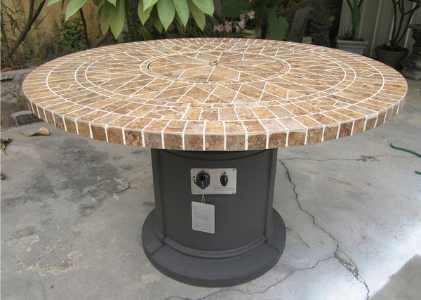 48 Quot Porcelain Mosaic Tile Fire Pit Fireplace Outdoor