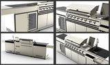 Island BBQ Grill Outdoor Kitchen w/ Wine Cooler + Sink  3 Piece 304 Stainless Steel Combo