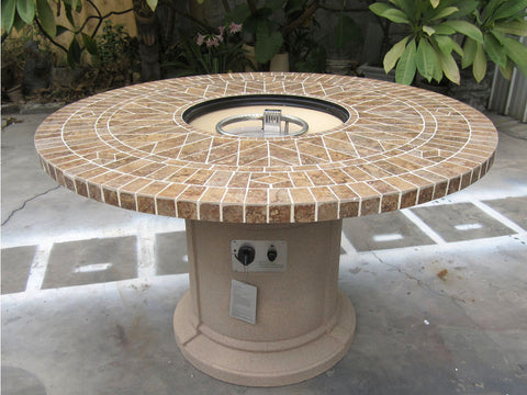 "48"" Porcelain Mosaic Tile Fire Pit Fireplace Outdoor Dining Table Propane"