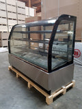 "71"" Curved Glass Stainless Steel Deli Cake Display Refrigerator"