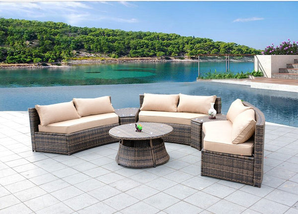 Sunbrella Curved Wicker Rattan Patio Furniture Set With