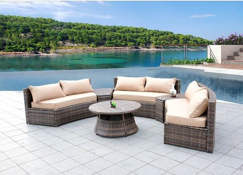 Sunbrella Curved Wicker Rattan Patio Furniture Set with Coffee Table. Sunbrella Curved Wicker Rattan Patio Furniture Set with Coffee