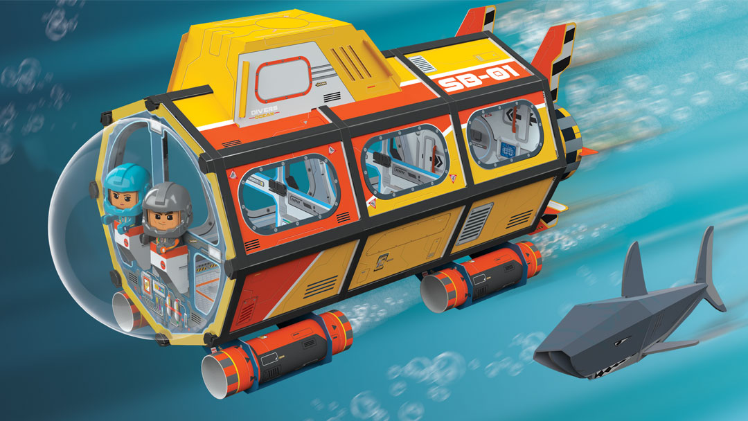 Gujo Adventure Deep Sea Submarine propels through the ocean depths with Gujo and Shelly at the helm.