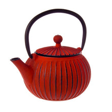 Cast Iron Teapot 500ml Ribbed Red Black