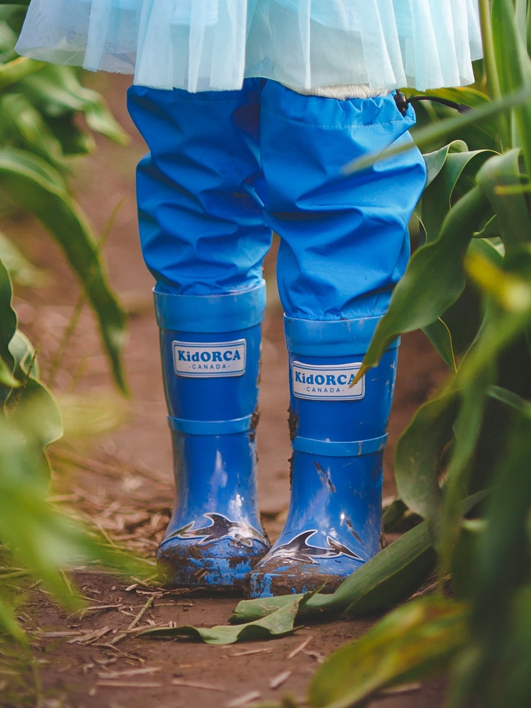KidORCA Rain Boots with Above Knee Waders_BLUE