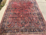 Antique Persian Hand-Knotted Sarouk Oriental Carpet 9'x 11'6'   SOLD