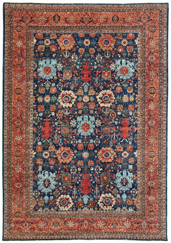 New Pakistan Hand-Knotted Recreation of 19th century Persian Harshang Bijar Carpet.