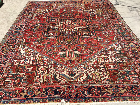"Old Persian Hand-Knotted Gorevan Heriz Oriental Carpet    8'10""x 11'4""   SOLD"