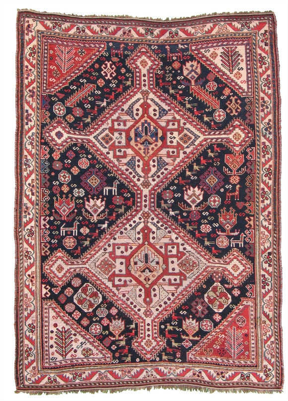 Antique Persian Ghashghai Tribal Rug                      4'5