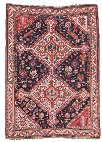 "Antique Persian Ghashghai Tribal Rug                      4'5""x 6'4"""