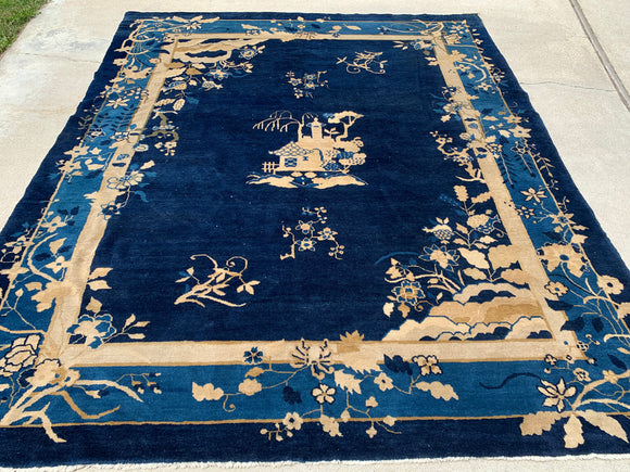 "1890's-1900's Antique Peking Hand Knotted Oriental Rug. 8'1""x 9'8"""
