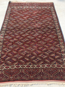 Antique Hand-Knotted Turkoman Rug  4'x 6'