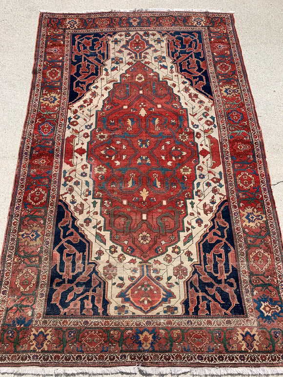 "1890's Antique Persian Hand Knotted Ferahan Oriental Rug. 4'3""x 6'9""               SOLD"