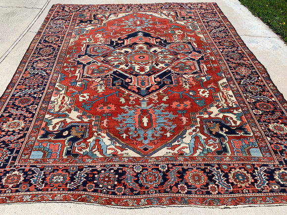 "Antique Persian Hand Knotted Serapi Oriental Rug.  9'6""x 11'3""  SOLD"