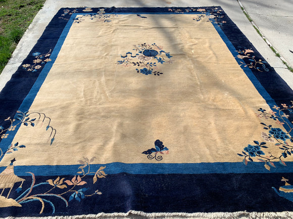 Antique Chinese Carpet  9'x 11'6""