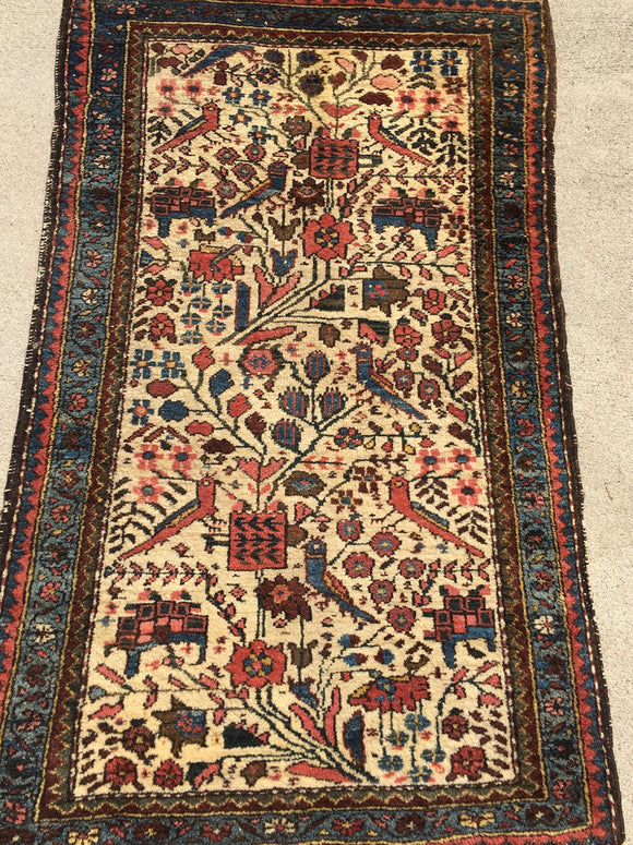 "Antique Persian Tafresh Village Rug.  2'4""x 4'"