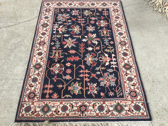 "Used INDIA Hand-Knotted Oriental Rug  4'2""x 6'1"""