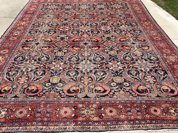 Antique Persian Mahal Oriental Carpet  10'x 13'