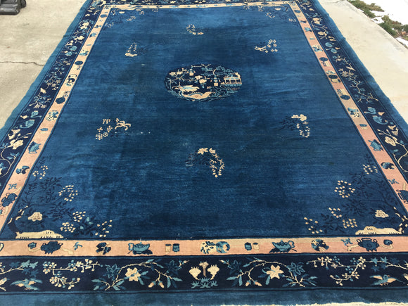Antique Chinese Peking Oriental Rug.  SOLD 10'x 13'6""