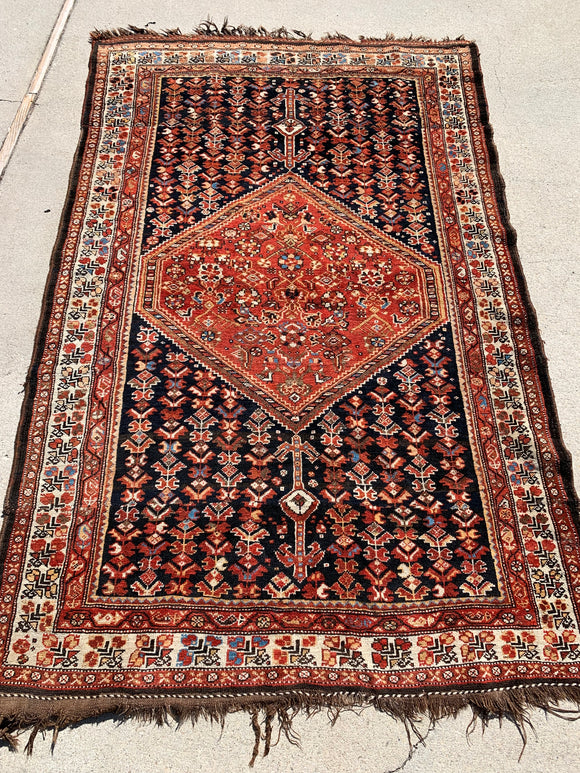 1920's Southern Iranian Khamseh Rug From Bavanat District. SOLD