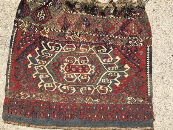 Antique Turkish Kurdish Bag Face 2'x 3'