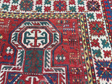 1880's Antique Armenian Caucasian Oriental Rug Key Hole Design