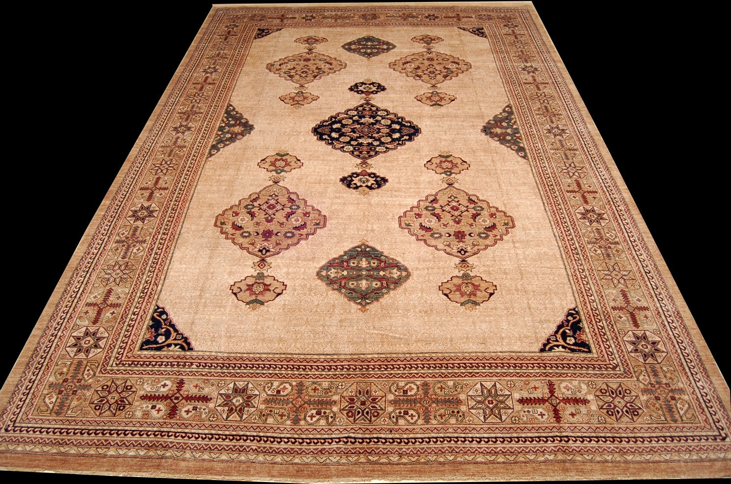 "New Pakistan Hand-woven Antique Reproduction of a 19th Century Persian Serab Carpet  12'3""x 18'6"""