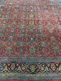 "1900's Antique Hand Knotted Persian Bijar Oriental Rug. 9'1""x 11'9"""