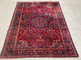 "Antique Persian Lilihan Hand-Knotted Oriental Rug    5'1""x 6'4"""