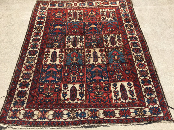 "Antique Persian Hand-Knotted Garden Design Bakhtiari.  5'5""x 6'9"""