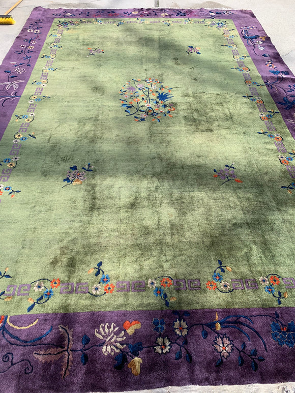 "Antique Chinese Art Deco Hand Knotted Oriental Rug 14'5""x 9'9""       SOLD"