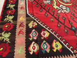 "Mid Century Turkish Slavic Baltic Flatweave Kilim    8'3""x 10'11"""