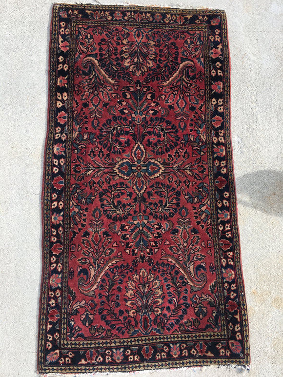 Antique Small Persian Sarouk Oriental Rug Mat  2'x 4'