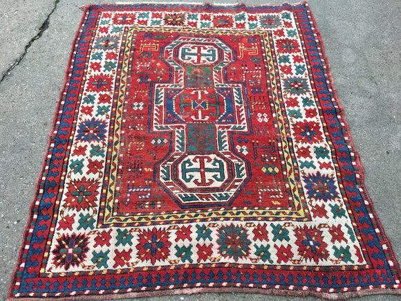 1880's Antique Armenian Caucasian Oriental Rug Key Hole Design    SOLD