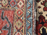 "New Turkish Hand-Knotted Antique Recreation of 19th Century Caucasian Shirvan Prayer Rug.  3'7""x 4'3"""