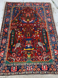 "Antique Persian Hand Knotted Bakhtiari Oriental Rug   4'9""x 6'7"""