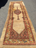 "Antique Hamadan Camel Hair Runner  12'9""x 4'"