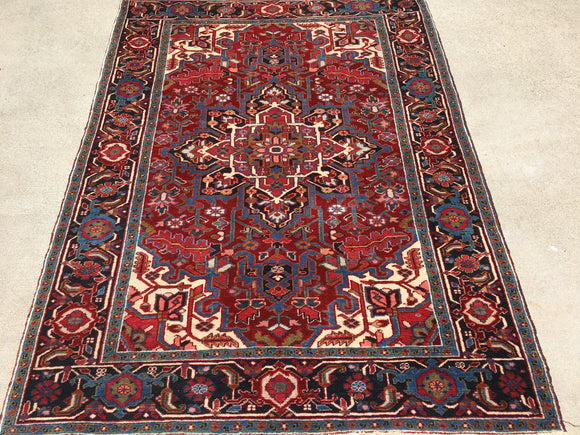"Vintage Semi-Antique Persian Heriz Oriental Rug  4'10""x 6'7"""