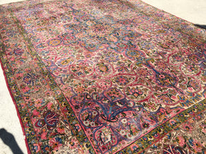 "Antique Persian Yazd Oriental Carpet.  10'3""x 15'"