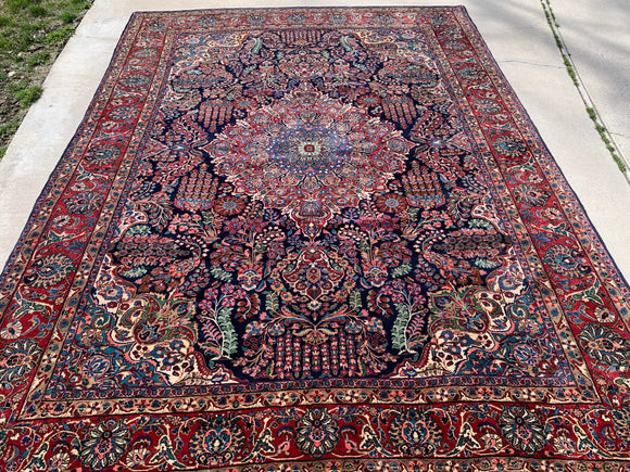 "Antique Persian Qazvin Oriental Rug 8'10""x 12'"