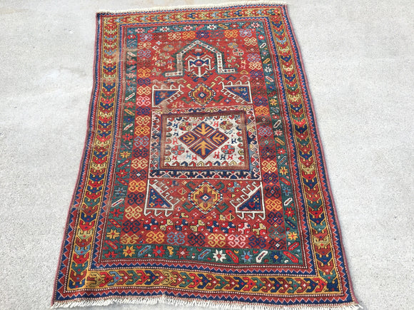"Antique Caucasian Fachrolo Oriental Rug.   3'8""x 5'7""   SOLD"