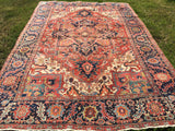 Antique Persian Hand-Knotted Heriz Oriental Carpet 8'x 12'