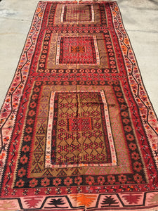 "Antique Turkish Kilim.  12'6""x 5'2"""