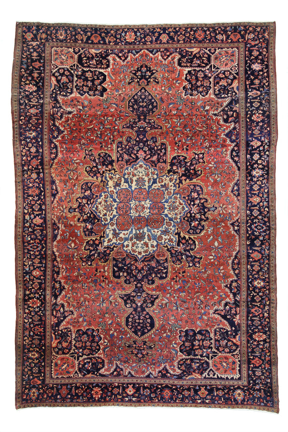 "1890's Antique Persian Ferahan Hand Knotted Oriental Rug 8'3""x 12'3"""