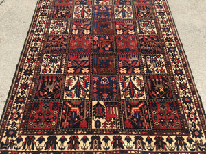 "Gently Used Vintage Persian Bakhtiari Rug   5'x 6'9""     SOLD"