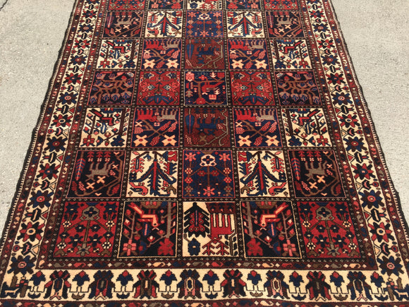 Gently Used Vintage Persian Bakhtiari  5'x 6'9""