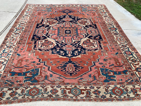 1890's Antique Persian Hand-Knotted Serapi   9'x 11'   SOLD