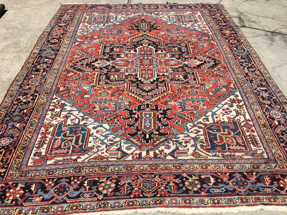 Old Persian Hand-Knotted Gorevan Heriz Oriental Carpet  9'x 11'7""